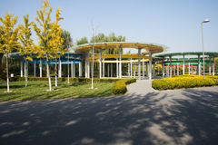 China Asia, Beijing, the Olympic Forest Park, five ring  Pavilion Royalty Free Stock Photography