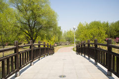 China Asia, Beijing, the Olympic Forest Park, garden landscape,The wooden bridge Stock Images