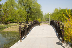 China Asia, Beijing, the Olympic Forest Park, garden landscape,The wooden bridge Stock Photo