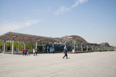 China Asia, Beijing, the Olympic Forest Park, the modern building, corridor, frame Stock Photography