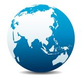 China and Asia, Far East Global World Icon Planet Earth. China and Asia, Vector Map Icon of the World Globe Stock Photography