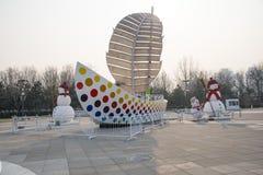 China, Asia, Pekín, decoración del Año Nuevo, muñeco de nieve, navegando Imagen de archivo