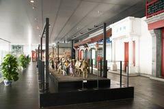 China Asia, Pekín, el museo capital, escultura, viejas aduanas de la gente de Pekín Fotografía de archivo