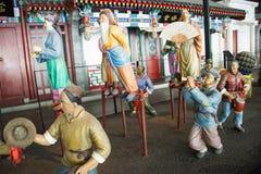 China Asia, Pekín, el museo capital, escultura, viejas aduanas de la gente de Pekín Fotos de archivo