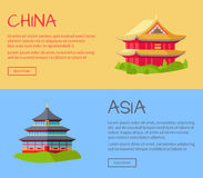China Asia Traditional Kinds of Houses on Grass Royalty Free Stock Image