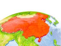 China auf Modell von Erde Lizenzfreie Stockfotografie