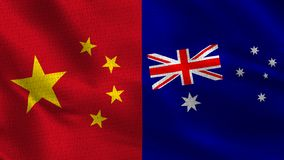 China and Australia - Two Half Flags Together stock image