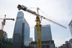 China Azië, Peking, Centraal Bedrijfsdistrict, in de bouw van CBD, torenkraan royalty-vrije stock foto's