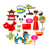 China background design. Chinese symbols and objects Royalty Free Stock Images