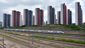 China-Bahnhochgeschwindigkeits- und Immobilien stockbilder
