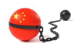 China band an einem Klotz am Bein Lizenzfreies Stockfoto