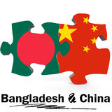 China and Bangladesh flags in puzzle Royalty Free Stock Image