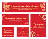 China Banner with gold dragon flower and china art frame on Red china pattern background  vector set design Stock Images