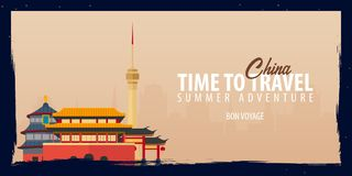 China banner. Time to Travel. Journey, trip and vacation. Vector flat illustration. China banner. Time to Travel. Journey, trip and vacation. Vector flat Stock Photography