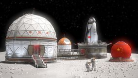 China base in the Moon dark side. Concept of a futuristic 3d illustration of a China base in the Moon dark side stock illustration