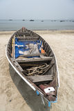 China Beach Da Nang Vietnam. A fishing boat on the famous China Beach in central Vietnam. A long and sandy beach just a couple of miles from the airport Royalty Free Stock Photo
