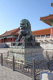 China. Beijing. The bronze lion statue in Forbidden City Royalty Free Stock Photo