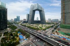 China Beijing City. China Central Television CCTV building is stock images