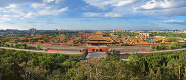 China Beijing Forbidden City palace Panoram. Lying at the center of Beijing, the Forbidden City, called Gu Gong, in Chinese, was the imperial palace during the Stock Photography