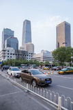 China, Beijing. High-rise modern buildings and avenue Stock Images