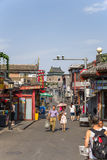 China, Beijing. Shopping street Yandai Xiejie. In the background, Bell Tower Stock Photos