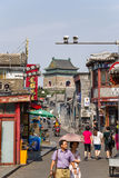 China, Beijing. Shopping street Yandai Xiejie and Bell Tower Stock Photo