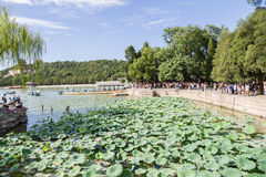 China, Beijing. Summer Imperial Palace. Kunming Lake, berths for boats Royalty Free Stock Photos