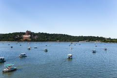 China, Beijing. Summer Palace. Kunming Lake, Longevity hill and boats Stock Photos