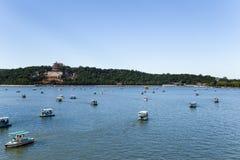 China, Beijing. Summer Palace. Kunming Lake, Longevity hill and boats Stock Photos