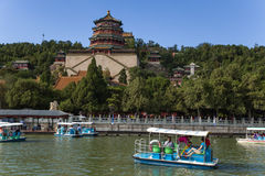 China, Beijing. Summer  Palace (Yihe Yuan). Longevity Hill and Temple Foxiangge - Tower of Buddhist Incense (Foxiangge). Stock Photo
