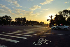 China Beijing Tiananmen Square before dawn Chang'an Avenue streetscape Stock Photography