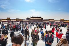China, Beijing, Tiananmen, Visitors In Forbidden City, Mass Tourism Stock Photos
