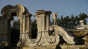 China beijing yuanmingyuan,history legacy wreckage,royal garden pillars. This is china beijing yuanmingyuan,history legacy wreckage,royal garden pillars stock video footage