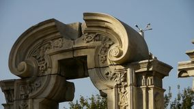 China beijing yuanmingyuan,history legacy wreckage,royal garden pillars. stock footage