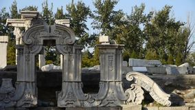 China beijing yuanmingyuan,history legacy wreckage,royal garden pillars. stock video