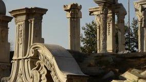 China beijing yuanmingyuan,history legacy wreckage,royal garden pillars. stock video