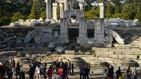 China beijing yuanmingyuan,history legacy wreckage,tourist. Gh2_05504 stock video