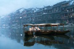 China boat. This is the morning in hunang Royalty Free Stock Photography