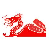 China boat festival. Dragon as a symbol of Chinese culture. Chinese fantasy dragon as a symbol of the China. Drawn illustration of an icon of dragon boat vector illustration