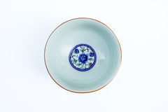 China bowl. Four angled china bowl decorated with paintings of Chinese life and traditional designs stock photography