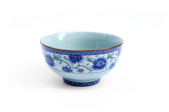 China bowl. Four angled china bowl decorated with paintings of Chinese life and traditional designs Royalty Free Stock Photography