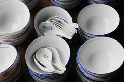 The china bowls and spoons Stock Image