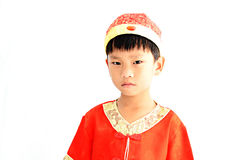 China boy in traditional Chinese red Tang suit Stock Images