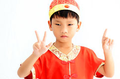 China boy in traditional Chinese red Tang suit Stock Image