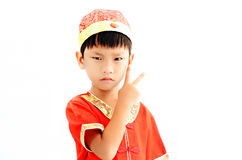 China boy in traditional Chinese red Tang suit Stock Photos