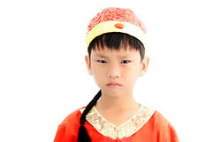China boy in traditional Chinese red Tang suit Royalty Free Stock Photos