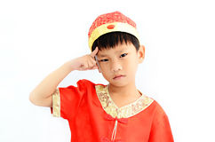 China boy in traditional Chinese red Tang suit Royalty Free Stock Photography