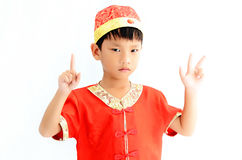 China boy in traditional Chinese red Tang suit Stock Photography
