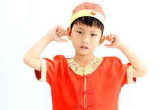 China boy in traditional Chinese red Tang suit Royalty Free Stock Photo