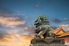 China bronze lion in sunset Royalty Free Stock Photo